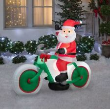 CHRISTMAS SANTA BICYCLE BIKE BIKER  AIRBLOWN INFLATABLE YARD DECORATION 6 FT