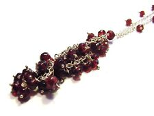 Fancy 925 Sterling Silver 70cttw Faceted Garnet Necklace F7
