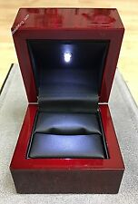 "Genuine Oak Rose Wood Strong LED Light Bridal Jewelry Ring Box ""Top Of The Line"""