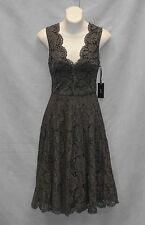 B5 NEW VERA WANG Pewter Double Scallop Lace Fit And Flare Dress Size 6 $228