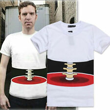 Men's Half Body Stereo Bone Printed Funny Cotton Short Sleeve T-shirt Size M