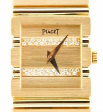 Women's Solid 18k Yellow Gold and Diamond Piaget Quartz Watch w/ Original Box