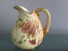 VINTAGE ROYAL WORCESTER ENGLAND HAND PAINTED FLORAL PITCHER - 1890'S