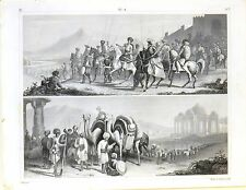 Stampa antica INDIA Rajah di CUTCH KATTIAVAR 1851 Old antique print