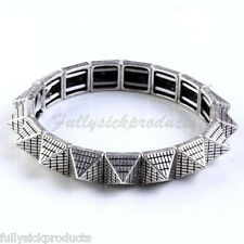 1PC Gothic Silvery Spike Rivet Square Bead Strand Stretchy Bracelet Bangle Punk