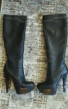 $1200 Gianmarco Lorenzi Heels Knee High Boots Platform Shoes Size 39 9 M