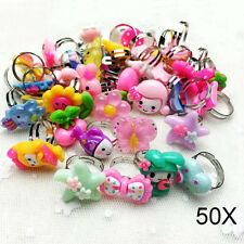 50x Plastic Children Kids Boys Girls Cartoon Flowers Fruit Finger Rings Nice
