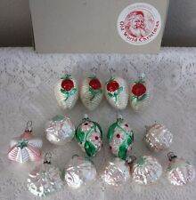 14 OLD WORLD VICTORIAN SHABBY PINK / ROSE GLASS ORNAMENTS W. GERMANY
