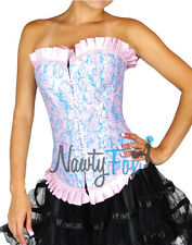 Sexy Pink,Sky Blue Victorian Brocade Marie Antoinette Costume Corset  XL