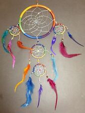 "NEW Large 5 Circle RAINBOW BEAD DREAM CATCHER 20"" LONG Feather Wall Decoration"