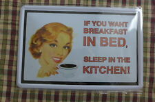 Kitchen Breakfast Bed  Metal Sign Painted Poster Wall Decor Art Retro Shop Hobby