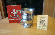 BOXED VINTAGE SHEFFIELD PEWTER TANKARD WITH CERTIFICATE MADE IN ENGLAND