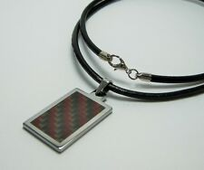Men Tungsten Red/Gray Carbon Fiber Pendant with 3mm Leather Necklace Cord 22""