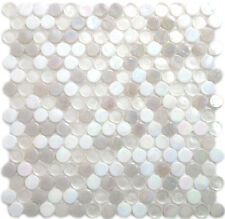 White Iridescent & Clear Penny Glass Kitchen Bath Mosaic Tile-1 Sheet