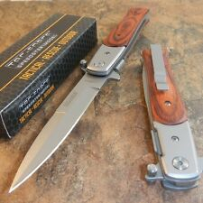 TAC-FORCE Spring Assisted Opening PAKKAWOOD Stiletto Folding Pocket Knife NEW!!!