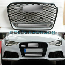 RS6 Front Euro Sline Black Grille W/Quattro Logo For Audi A6 S6 C7 SFG 2013 2014