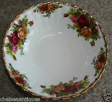 Original Royal Albert Old Country Roses 1962 Tazón de sopa/ensalada Plato Blanco Floral