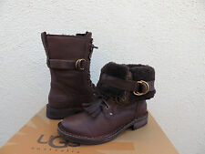 UGG JENA JAVA BROWN LEATHER/ SHEARLING KILTIE WINTER BOOTS, US 5/ EUR 36 ~NIB