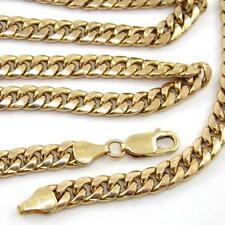 "Heavy 10K Yellow Gold Curb Cuban Chain Link Necklace 28.25""  6mm QZ"