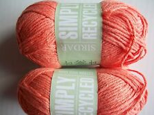 Sirdar Simply Recycled Cotton Rich Aran yarn, Coral, lot of 2 (102 yds ea)