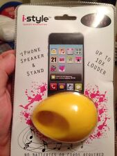 New Acoustic Yellow Silicone Egg Shape Holder Speaker For Apple iPhone 3GS 4GS
