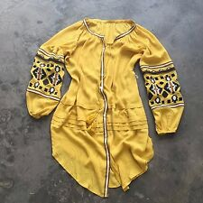 FREE PEOPLE Anthropologie $168 Embroidered Mustard Maxi Boho Tunic Dress - M