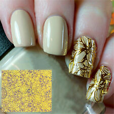 1Sheet Embossed 3D Nail Stickers Gold Blooming Flower Nail Decals Manicure