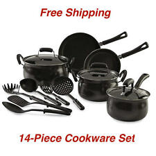 Nonstick 14-Piece Black  Pots And Pans Carbon Steel Cookware Set Cooking