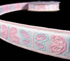 """3 Yds Pastel Baby Pink Blue Butterfly Woven Jacquard Ribbon 5/8""""W"""