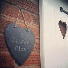 Personalised Slate Heart House Door Number & Name Sign