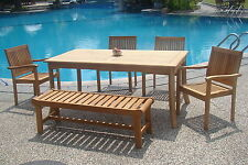 """Leveb Grade-A Teak 6pc Dining 71"""" Rectangle Table,Bench,Stacking Arm Chair Set"""