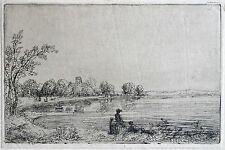 David Charles Read (1790-1851) Etching. Figures beside a lake & church