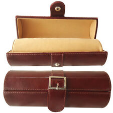 Travel Watch Case Genuine Leather Bangle Bracelet Roll Luxury Gift Box Brown