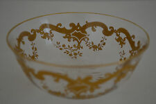 ANTIQUE ST LOUIS CRYSTAL MASSENET PATTERN GOLD ENCRUSTED FINGER BOWL