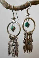 "Silver Artisan Open Circle Turquoise Feather Dreamcatcher 2"" Dangle Earrings"