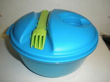 EUC Tupperware 1700 Azure 4 Piece Lunch Salad Bowl Set Utensils On the Go