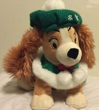"Disney Store Christmas Lady And The Tramp Plush 12"" Stuffed Holiday Green Beret"