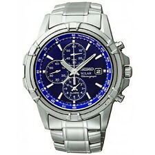 Seiko SSC141 Mens Solar Stainless Steel Blue Dial Tachymeter Chronograph Watch