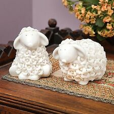 SET/2 PORCELAIN ROSEBUD SHEEP FIGURINES HOME DECOR NEW IN BOX HOME INTERIOR