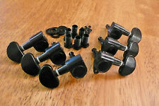 GUITAR TUNERS TUNING PEGS 3x3 BLACK WITH KIDNEY BEAN HANDLES