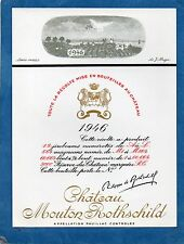 PAUILLAC 1EGCC ETIQUETTE CHATEAU MOUTON ROTHSCHILD 1946 75 CL DECOREE §14/07/16§