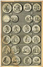 """Medals of K. William and Q. Mary"" from Rapin's HISTORY OF ENGLAND  Pl. V - 1745"