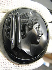 LARGE ANTIQUE VICTORIAN CARVED WHITBY JET CAMEO BROOCH