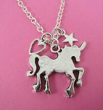 "Girls Silver Unicorn Heart & Star Charms Silver 18"" Necklace New in Gift Bag"