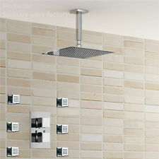 """Thermostatic Mixer Valve 8""""Ultrathin Square Rainfall shower with 6pcs body jets"""
