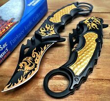 Spring Assisted Tactical 8 Pocket Karambi knife knives Dragon Flames GOLD A051GD