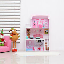 Qaba Wooden Kids Doll Cottage with Furniture Modern Luxury Dollhouse Playset