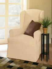 NEW! SUREFIT T Cushion SUEDE SAND OFF WHITE WING CHAIR COVER