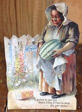 Black Americana Older Lady Carrying Watermelon Melon Yeast Foam Counter Sign