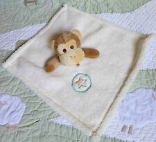 Off White Plush Fleece Monkey w Star Circle Baby Boy or Girl Security Blanket EU